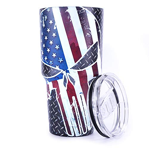 Pandaria 30 oz Stainless Steel Vacuum Insulated Tumbler with Lid - Double Wall Travel Mug Water Coffee Cup for Ice Drink & Hot Beverage, Punisher - Body Punisher