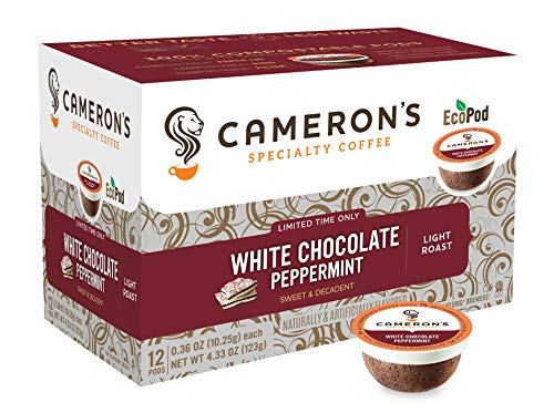 Cameron's Coffee Holiday Single Serve Pods, Flavored, White Chocolate Peppermint, 12 -