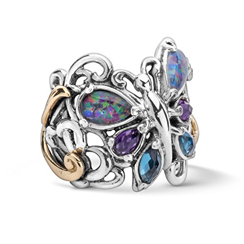 Carolyn Pollack Mixed Metal Multi Gemstone Butterfly Ring