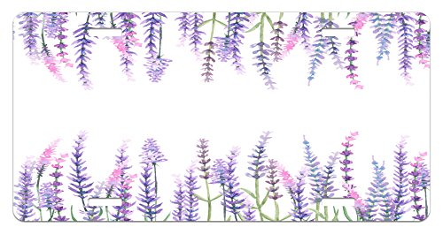 by Lunarable, Lavender Plants Aromatic Evergreen Shrub of Mint Family Nature Oil Country Style Print, High Gloss Aluminum Novelty Plate, 5.88 L X 11.88 W Inches, Lilac (Aromatic Mint)