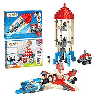 Hape PolyM Space Adventure Rocket Construction Kit | 138 Piece Building Brick Toy Play Set for Kids - Figurines and Accessories Included