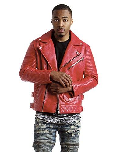 Smoke Rise Men's Vegan Leather Biker Jacket-Red-2XL by Smoke Rise