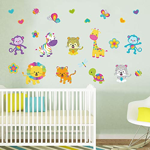 decalmile Rainbow Animals Wall Decals Colorful Zebra Monkey Lion Giraffe Wall Stickers Kids Bedroom Baby Nursery Wall Decor