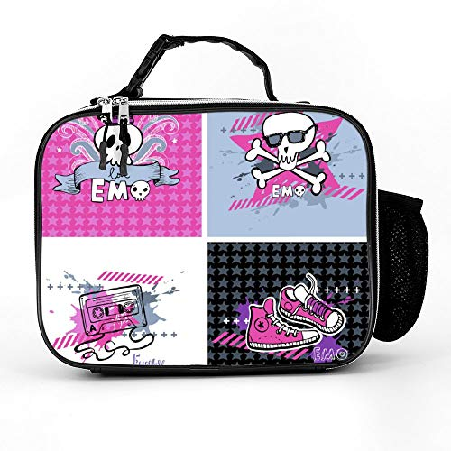 Welkoom Insulated Lunch Bag Lunch Box Cooler Bag With Emo Vector Banners For Men Women -