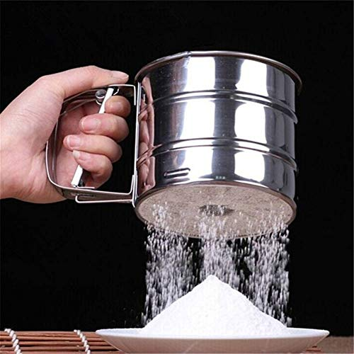 Stainless Steel Mesh Flour Sifter DIY Manual Baking Icing Sugar Shaker Sieve ()