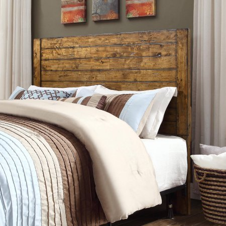 Bryant Collection Solid Wood Plank Headboard in Rustic Brown Finish from Better Homes & Gardens