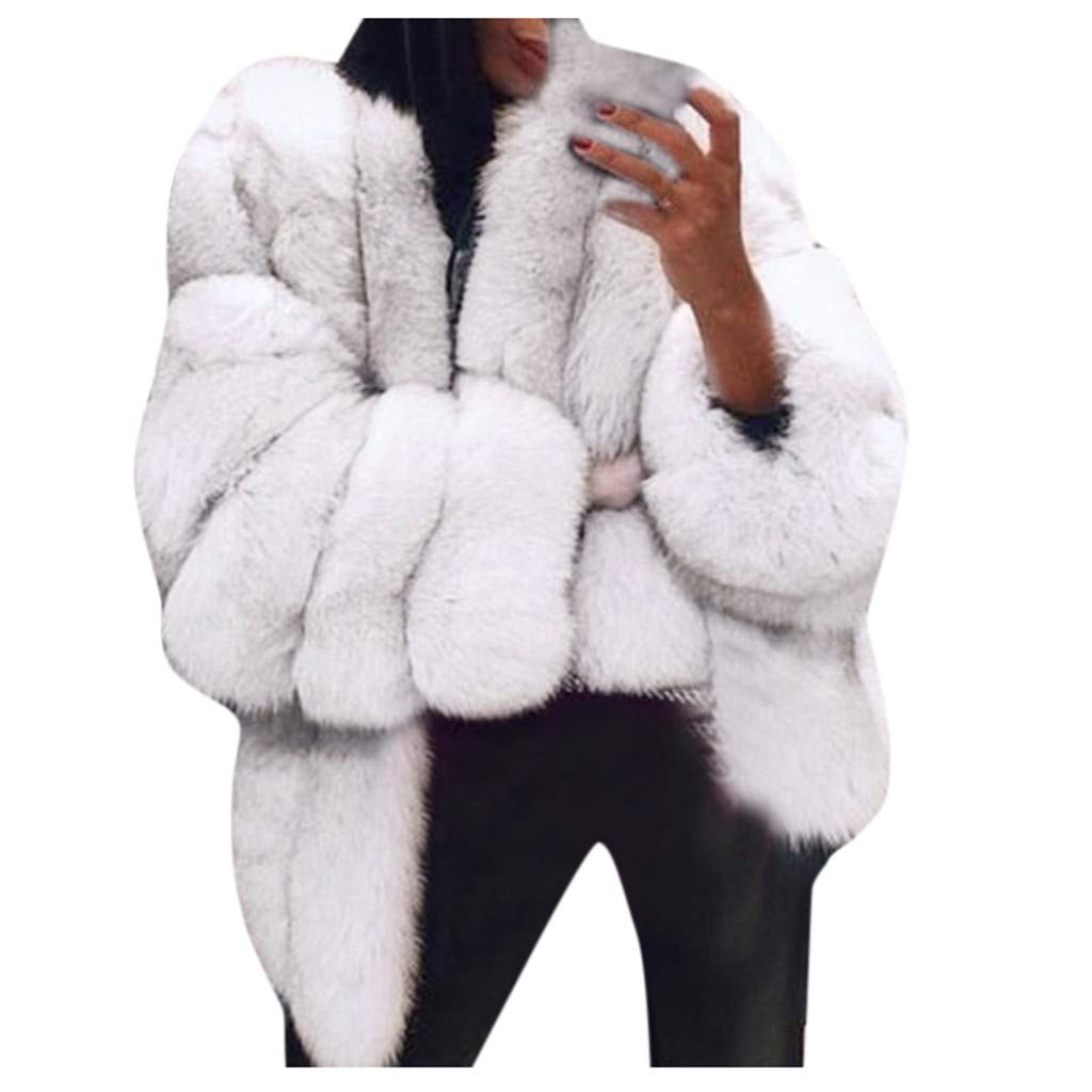 〓COOlCCI〓Women's Long Sleeve Shaggy Fluffy Faux Fur Warm Coat Parka Jacket Long Trench Cardigan Warm Thick Outerwear White by COOlCCI_Womens Clothing