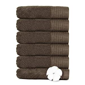 Hand Towels for Bathroom - VANZAVANZU High Quality Hand Towels Face Towels Set, 100% Cotton Highly Absorbent for Bath, Hand, Face, Gym and Salons, Size 33 x 73 cm (Dark Brown, 6-Pack)