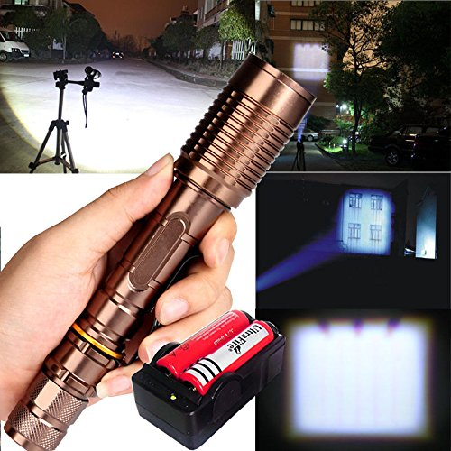 2200 Lumen Zoomable CREE XM-L T6 LED 18650 Flashlight Torch with Battery and Charger