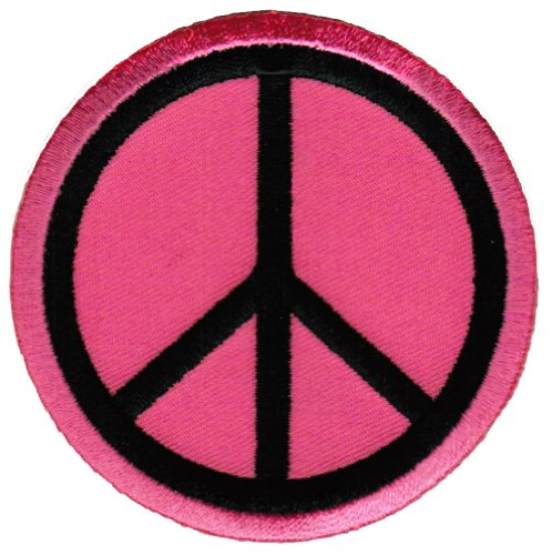 (Peace Sign Embroidered Patch Anti-War Hippie Iron-On Symbol Pink)