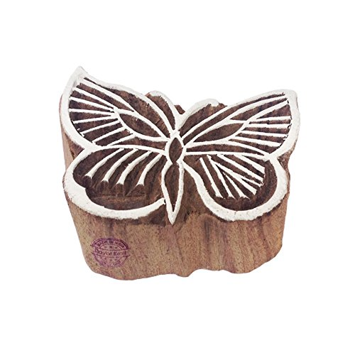 Classy Butterfly Insect Motif Wood Block Print - Print Butterfly Block