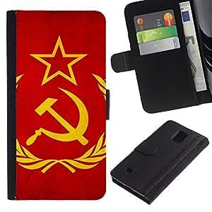 Be Good Phone Accessory // Caso del tirón Billetera de Cuero Titular de la tarjeta Carcasa Funda de Protección para Samsung Galaxy Note 4 SM-N910 // Soviet Union Flag