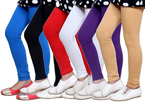 Indistar Little Girls Cotton Full Ankle Length Solid Leggings -Multiple Colors-1-3 Years Pack of 5