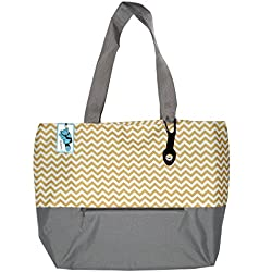 XL Beach Tote Chevron Print Weekender Bag with Mesh Webbed Handles and Outer Zippered PocketCan Be Personalized (Blank, Gold)