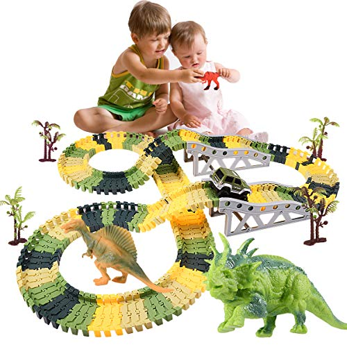 SnowCinda Toys for 4-5 Year Old Boys, 192 Pcs Dinosaur Toys Upgraded Race Car Flexible Track Jurassic World with 1 Trains&Car,1 Turntable,3 Mini Dinosaurs,Best Gift for Age 3-10 Year Old Boys/Girls
