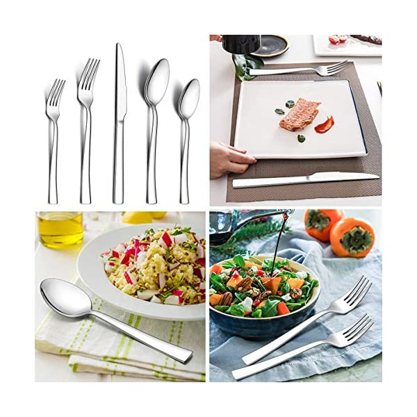 LIANYU 40-Piece Silverware Set, Stainless Steel Square Flatware Cutlery Set for 8, Eating Utensils Tableware Include… 2