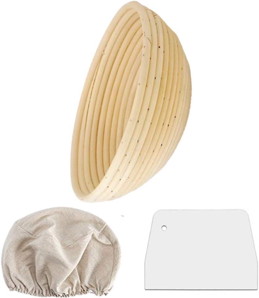 Bread Banneton Proofing Basket - Brotform Baking Dough Bowl, Proving Baskets with Linen Cloth Liner, Scraper, Dough Rising Rattan Handmade Bowl for Sourdough Bread, Professional Home Artisan Baker