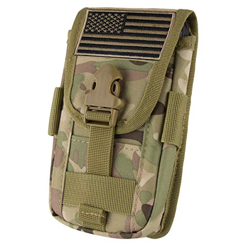 IronSeals Tactical Cell Phone Holster Pouch, Tactical Smartphone Pouches EDC Cellphone Case Molle Gadget Bag Molle Attachment Belt Holder Waist Bag with US Flag Patch