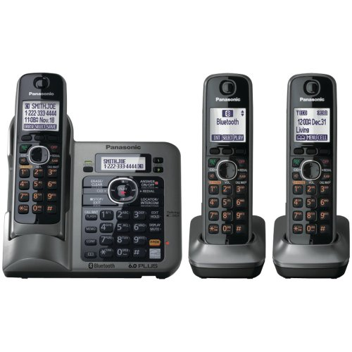 Panasonic KX-TG7643M dect 6.0 Link-to-Cell Bluetooth Cordless Phone with 3-Handsets (Dect Tech)