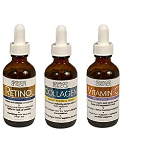 Advanced Clinicals Complete Skin Care Set with Anti-Aging Retinol Serum, Plumping Collagen Serum, and Vitamin C Serum for wrinkles, dark spots, and uneven skin tone. Three large 1.75oz bottles