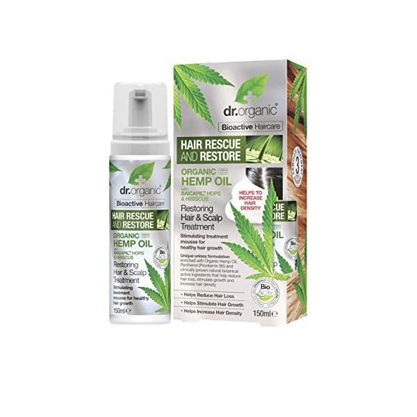 DR ORGANIC Hair Rescue & Restore Hemp Oil Restoring and Scalp Treatment, 150 ml