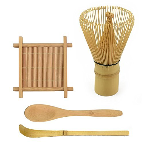 IEBIYO Matcha Whisk Set Includes Tea Whisk, Traditional Scoop, Teaspoon, Large Tray - Japanese Green Tea Whisk All Natural Bamboo Chasen Matcha Tea Gift Full Set