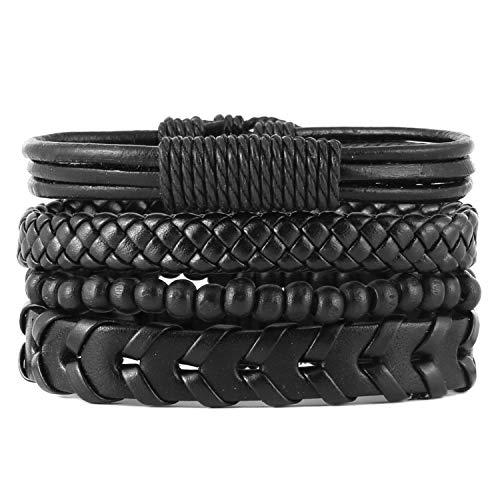 Tribal Leather Wristband - HZMAN Mix 4 Wrap Bracelets Men Women, Hemp Cords Wood Beads Ethnic Tribal Bracelets, Leather Wristbands (SZ809045)