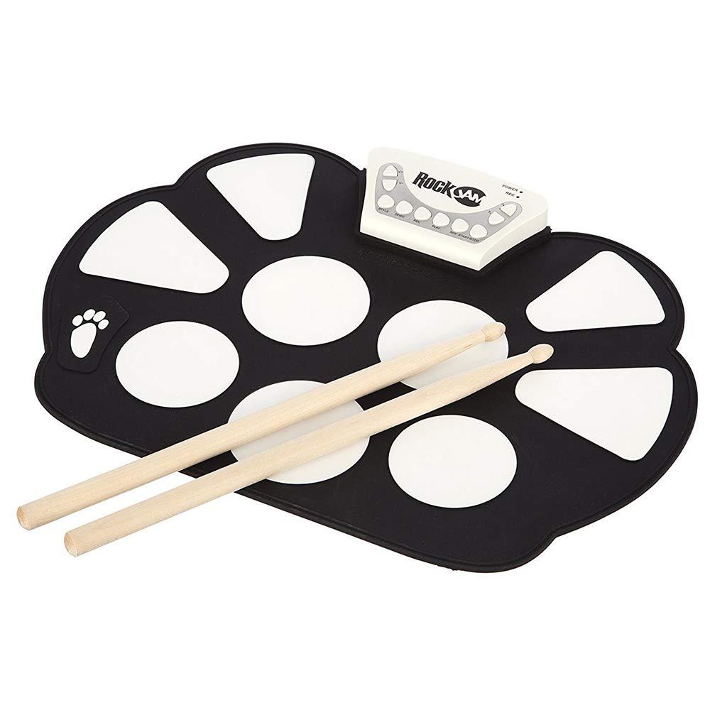 Drum set portatile, Electronic roll up Drum Pad Kit pieghevole in silicone con bastone, con 2 bastoni tamburo + 2 pedali perfetti per la pratica antiPasti a tamburo, principianti