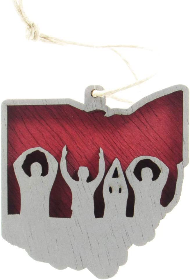 CNS Engraving Ohio Shaped Christmas Ornament – O-H-I-O Outline in Scarlet and Gray – Layered Wood Ornament