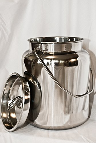 10 Qt Stainless Steel Milk Can Tote. Solid & Seamless, Easy Carry (Steel Tote Stainless)