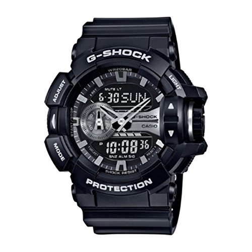 Casio G-Shock Black and Silver-Tone Dial Resin Quartz Men's Watch GA400GB-1A (Mens Watches G Shock Silver)