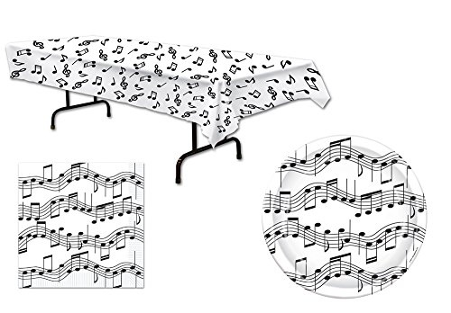 Music Note Tablecover Napkins Dinner Plates 33 Piece Bundle Set for 16 ()