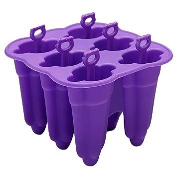 MyLifeUNIT silicona Popsicle Moldes, paleta fabricante libre de BPA, Ice Pop moldes, juego de 6 (morado): Amazon.es: Hogar