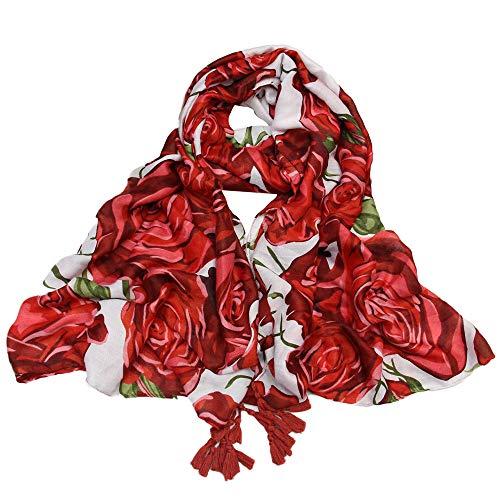 DEATU Casual Scarf Ladies Print Long Shawl Gauze Women HolidaySilk Towel Beach Scarf(b-Red,90×180cm)