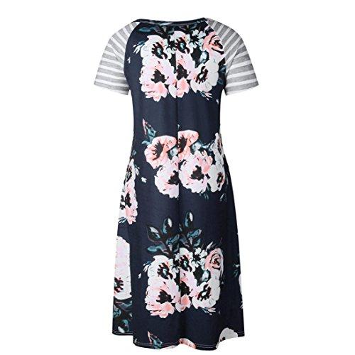 Longra ♣Vestido de fiesta de noche de las mujeres Boho Summer Beach Print Dresses Negro