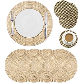 Amazon Com 6 Pcs Round Brown Placemats Plastic Thick