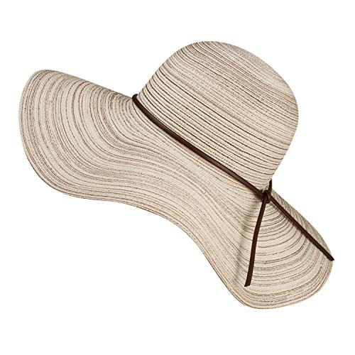 "FURTALK Summer Beach Sun Hats for Women UPF Woman Foldable Floppy Travel Packable UV Hat Cotton, Wide Brim Hat (Large Size (Head Size 23.22""), Beige-Belt)"