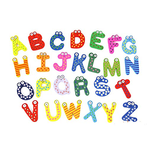 - Best Quality - Others - 26Pcs Blackboard Refrigerator Magnets Spelling Toy Cartoon Early Education Alphabet Letters Wooden Kids Baby - by Kiartten - 1 Pcs - Wood Letters for Wall Decor