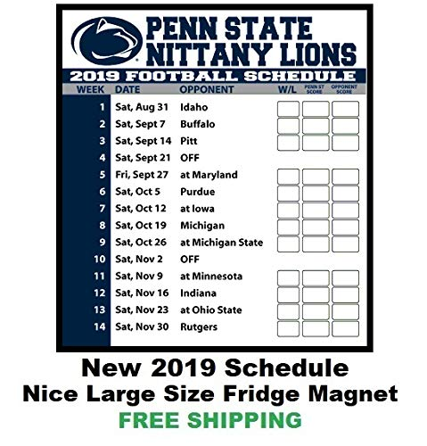 Penn State Football Schedule 2019 Amazon.com: 2019 NCAA Penn State Nittany Lions Football Schedule
