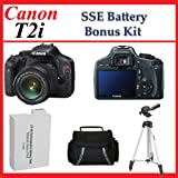 Canon EOS Rebel T2i Digital SLR Camera Kit with EF-S 18-55mm f/3.5-5.6 IS Lens Kit with SSE Tripod, Case and Battery Package, Best Gadgets