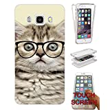 000040 - Cool Geek Kitten Cat Reading Sunglasses Funny Design Samsung Galaxy J3 SM-J320F Fashion Trend CASE Gel Rubber Silicone Complete 360 Degrees Protection Flip Case Cover