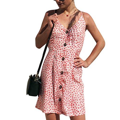 Sexy Robe Longue Chic Col V Boutton Dos Nu Robe Vintage Robe De Plage Pink