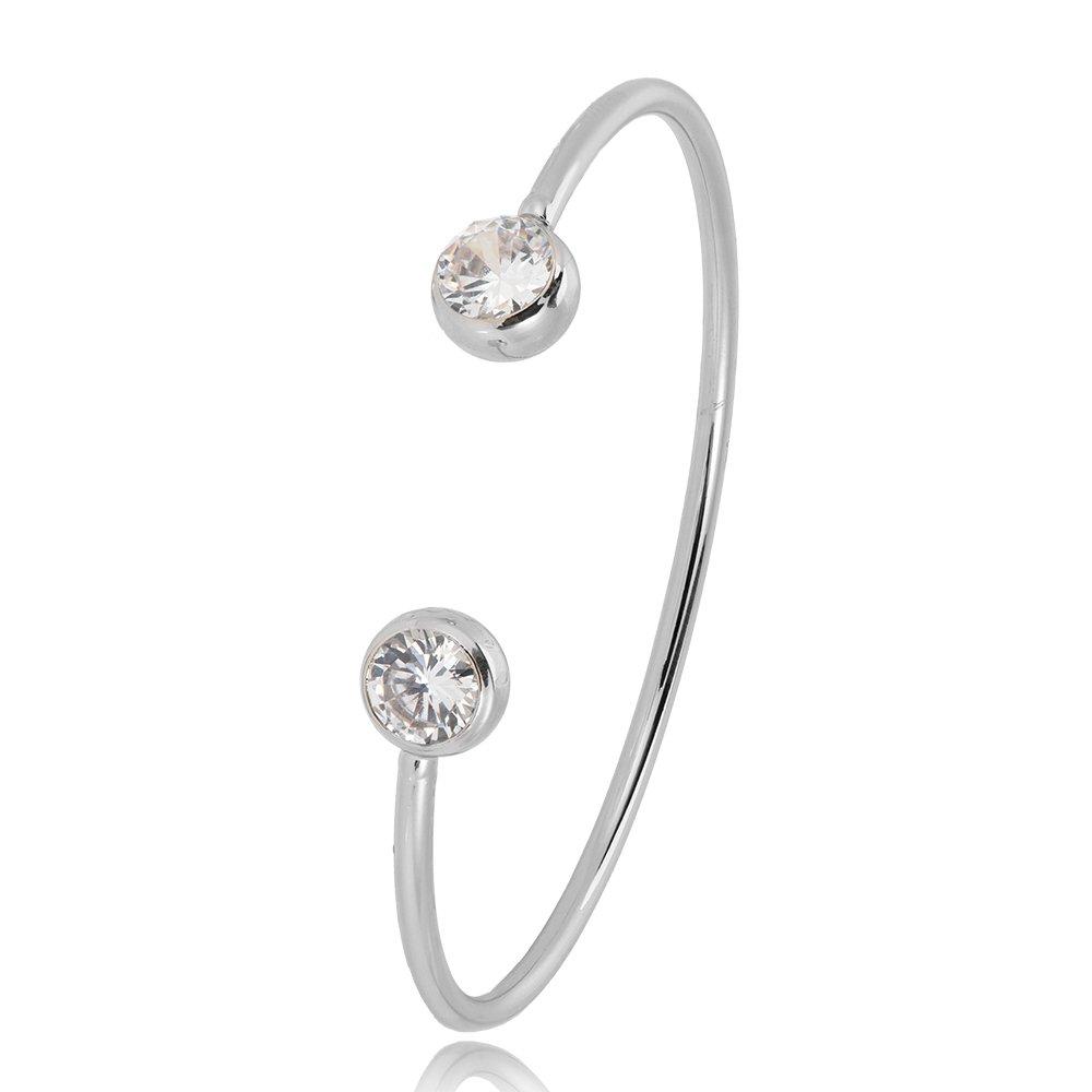 SJ SHI JUN Crystal Birthstone Open Cuff Bracelet 18K Rose Gold Plated For Women Girl Bridesmaid Gift