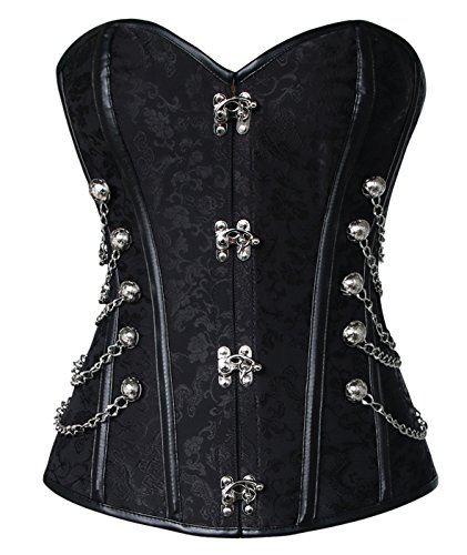 Charmian Women's Steampunk Gothic Spiral Steel Boned Brocade Waist Cincher Overbust Corset with Chains Black XXXX-Large -