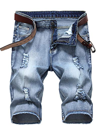 Men's Summer Ripped Vintage Washed Distressed Straight Fit Knee Length Denim Shorts - Shorts Vintage Denim