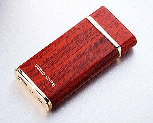 Windvape® Double Arc Electric Lighter Retro Wood Grain Red Finish Wood Look Pattern Woodgrain Dual Beam Plasma Fire Starter