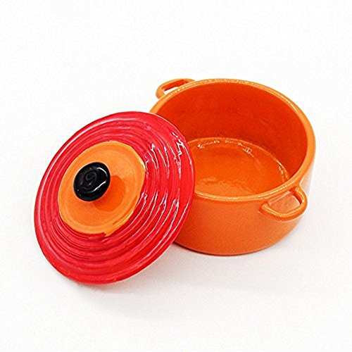 (Odoria 1:12 Miniature Orange Metal Soup Tureen with Lid Dollhouse Kitchen Accessories)