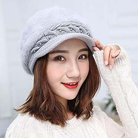 Color : Bright red JINGB Home Winter Ladies Wool Cap Pearl Solid Color Beret Cap Autumn and Winter Knit Cap