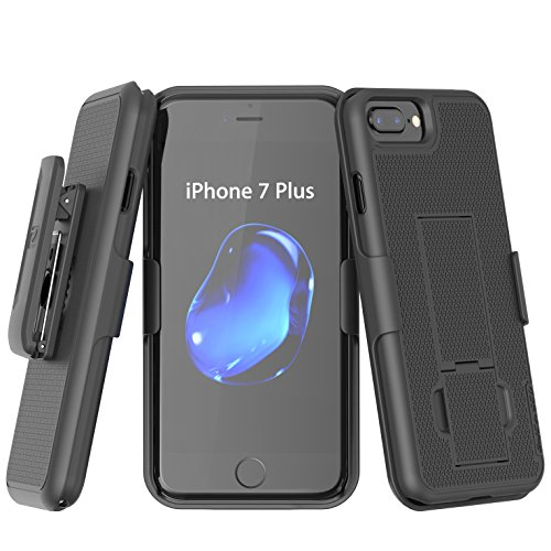 "iPhone 7 Plus 5.5"" Belt Clip Combo Case w/ ClikLock Holster - Black (Authentic Encased Product)"