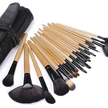 b262af4e4 Maquillali Set profesional de 24 piezas brochas para maquillaje (Madera  Original), Mejor regalo